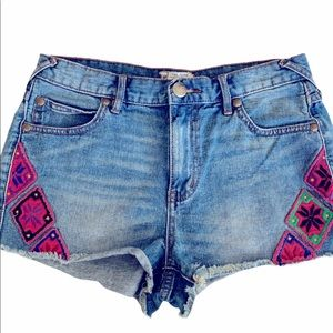 Free People Embroidered Diamond Aztec Jean Shorts